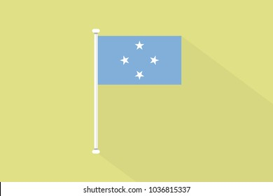 Micronesia flag with flagpole,vector illustration
