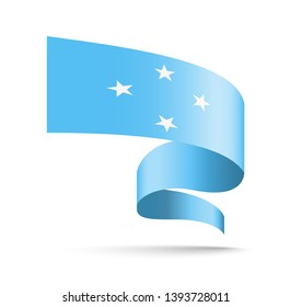 Micronesia flag in the form of wave ribbon vector illustration on white background.