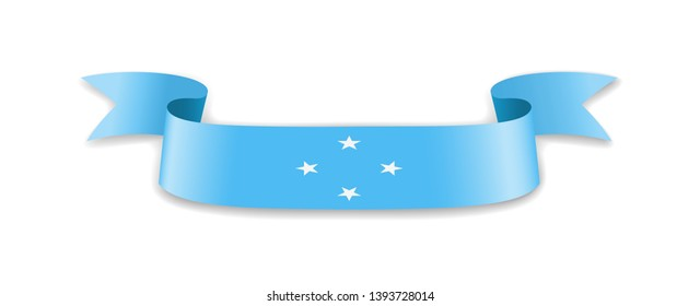Micronesia flag in the form of wave ribbon. Vector illustration.