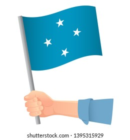 Micronesia flag in hand. Patriotic background. National flag of Micronesia vector illustration
