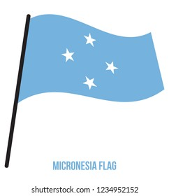 Micronesia Flag Waving Vector Illustration on White Background. Micronesia National Flag.