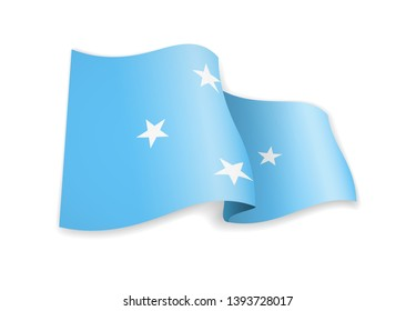 Micronesia flag in the wind. Flag on white background vector illustration