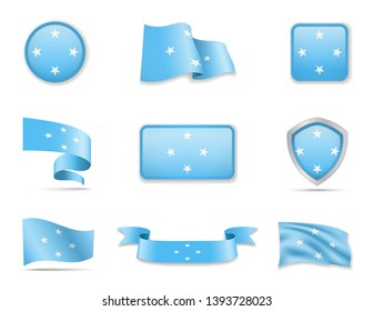Micronesia flags collection. Flags and outline of the country vector illustration set