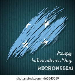 Micronesia Independence Day Patriotic Design. Expressive Brush Stroke in National Flag Colors on dark striped background. Happy Independence Day Micronesia Vector Greeting Card.
