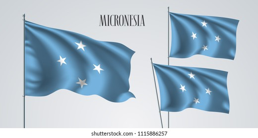 Micronesia waving flag set of vector illustration. White blue colors of Micronesian wavy realistic flag as a patriotic symbol