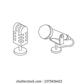 Microphone 3d vector line art icon isometric minimalism illustrate