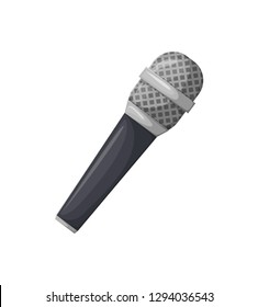 Microphone with black handle vector, isolated icon of mike, karaoke sign. Concert and performance of musician, entertainment with voice professional mic