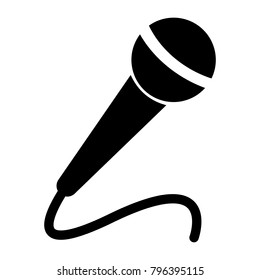 Microphone black on white background, vector