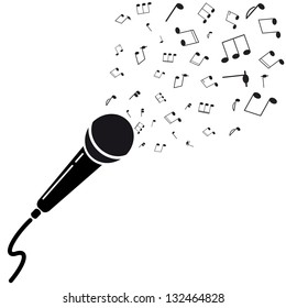 Microphone black silhouette with notes. A vector illustration isolated on white background