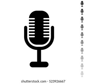 Microphone - black vector icon and ten icons in  shades of grey