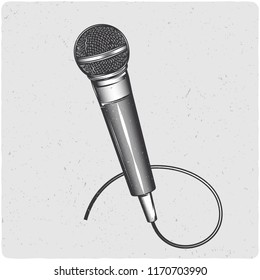 Microphone. Black and white illustration. Isolated on light backgrond with grunge noise and frame.