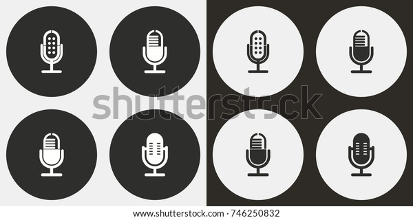 Microphone - black and white vector icons. Round buttons for graphic and web design.