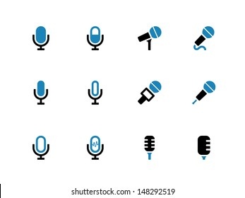 Microphone duotone icons on white background. Vector illustration.