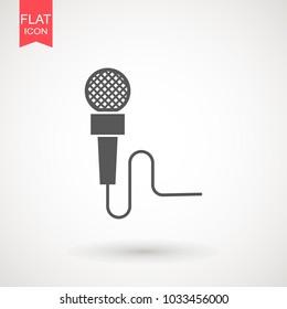 Microphone flat icon. Speaker symbol. Live music sign. Media Studio News logo