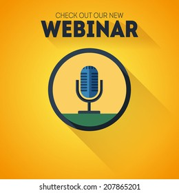 Microphone flat vector icon with long shadow and text Check out our new webinar on yellow background