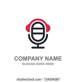 Microphone Headphone Music Studio Logo Vector