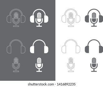 Microphone and headphones silhouette (outline)