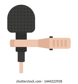 Microphone and holder flat icon, audio equipment vector illustration isolated on white background