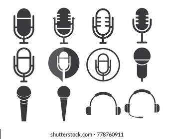 Microphone Icon Design Vector Sets Collection