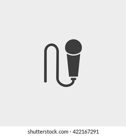 Microphone Icon in a flat design in black color. Vector illustration eps10