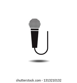 Microphone icon flat designed black and white vector graphic
