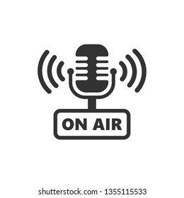 Microphone icon in flat style. Live broadcast vector illustration on white isolated background. On air business concept.