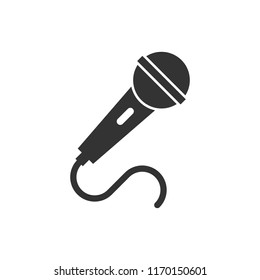 Microphone icon in flat style. Mic broadcast vector illustration on white isolated background. Microphone mike speech business concept.
