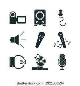 microphone icon set. call center and camcorder icon vector icons.
