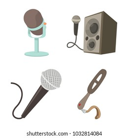 Microphone icon set. Cartoon set of microphone vector icons for web design isolated on white background