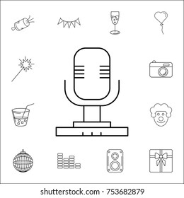 Microphone icon. Set of party icons. Signs, outline symbols collection, simple thin line icons for websites, web design, mobile app, info graphics on white background