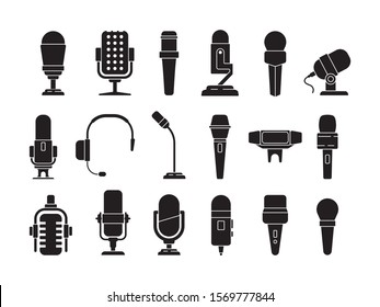Microphone icon. Sound record studio music speech recorder items vector picture of microphones