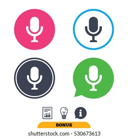 Microphone icon. Speaker symbol. Live music sign. Report document, information sign and light bulb icons. Vector
