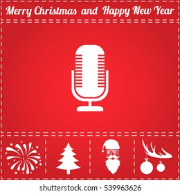 Microphone Icon Vector. And bonus symbol for New Year - Santa Claus, Christmas Tree, Firework, Balls on deer antlers