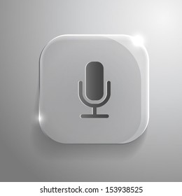 Microphone icon - vector gray glass app button with shadow. eps10