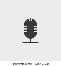 microphone icon. microphone vector on gray background