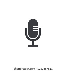 Microphone icon. Vector recorder symbol. Microphone shape. Element for design search app chat messenger or website