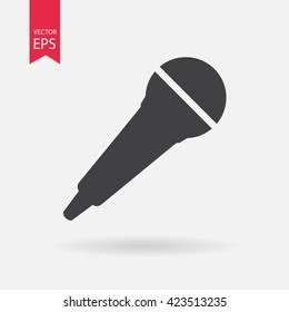 Microphone icon vector, Voice recorder, Interview, karaoke, audio jack sign Isolated on white background. Trendy Flat style for graphic design, logo, Web site, social media, UI, mobile app, EPS10
