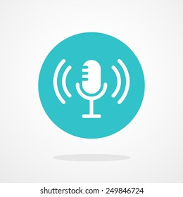 Microphone Icon. Webcast, Live Stream, Webinar Illustration