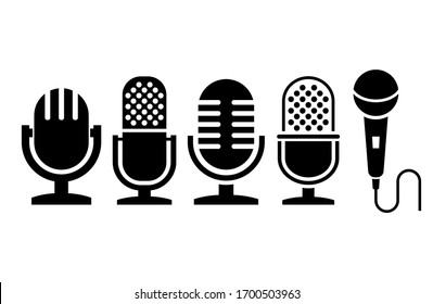 Microphone icons collection, vector illustration on white background