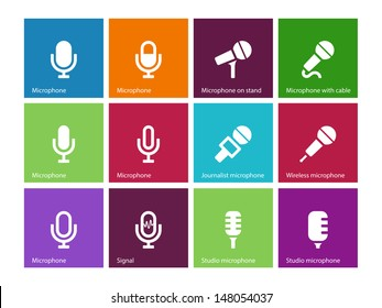 Microphone icons on color background. Vector illustration.