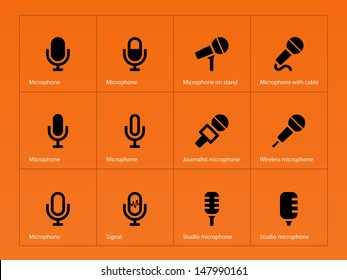 Microphone icons on orange background. Vector illustration.