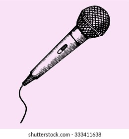 Microphone for Karaoke, doodle style, sketch illustration, hand drawn, vector