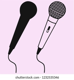 Microphone for Karaoke vector silhouette isolated