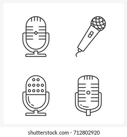 Microphone line icons set, vector eps10 illustration