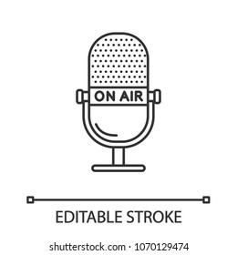 Microphone linear icon. Radio broadcasting. On air.  Thin line illustration. Contour symbol. Vector isolated outline drawing. Editable stroke