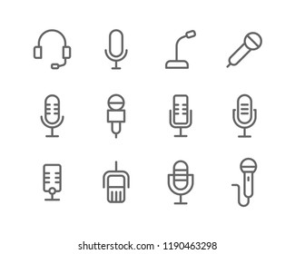 Microphone lines icon set