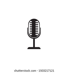 Microphone logo template vector icon illustration