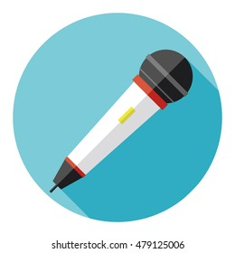 Microphone with a long shadow, icon microphone, singing songs, the singer. Flat design, vector.