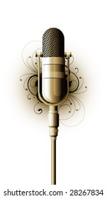 microphone metal on a white background