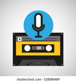 microphone music cassette tape vector illustration eps 10